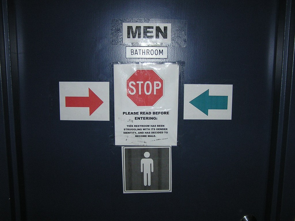 This gender confused bathroom was once the women's room.