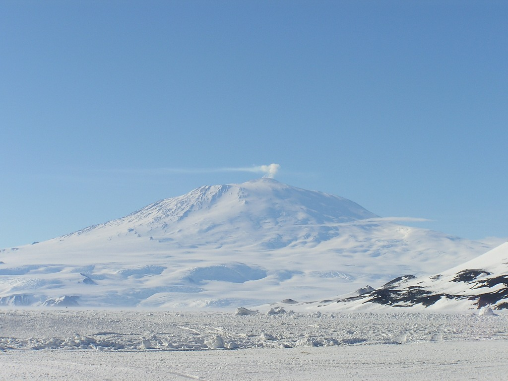 Mount Erebus, the southernmost active volcano in the world.