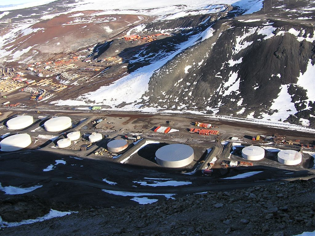 Fuel tanks as seen from atop Observation Hill.