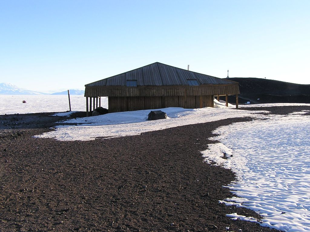 Captain Scott's Discovery Hut at Hut Point, Ross Island, Antarctica.