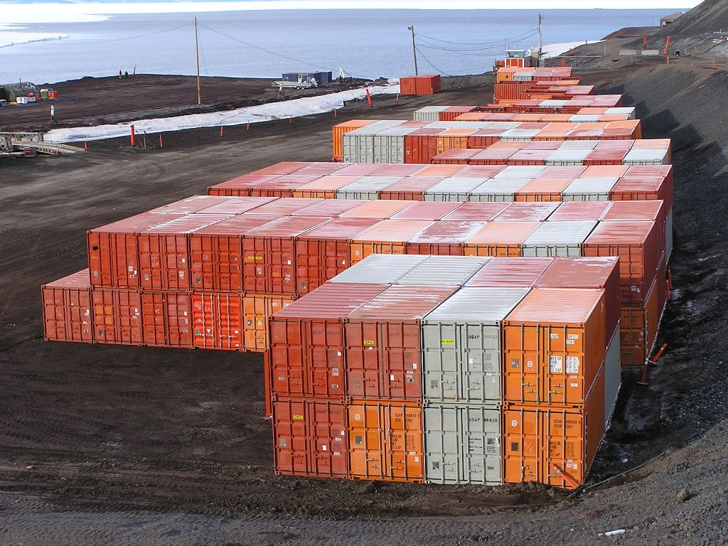 Waste, recyclable, or reusable cargo ready to be removed from McMurdo.