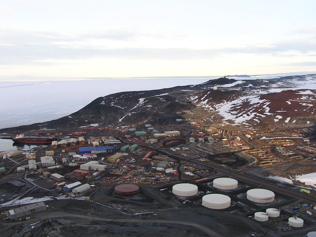 View of McMurdo from Ob Hill. The darker roads are the most used cargo routes. They have been wet down to control dust.